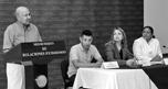 Foto: CONSULADO DE EL SALVADOR De izquierda a derecha: Arq. Max Guerra del Comité Ciudadano, Esaú Hércules, por parte de jóvenes emprendedores, Verónica Pichinte, Cónsul General de El Salvador en Montreal, Liduvina Magarin, Viceministra para Salvadoreños en el Exterior.