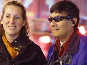 """""""Durante mi tercer voluntariado, decidí centrar mi trabajo en extender los servicios del CJE a las personas con discapacidad. Tres incipientes emprendedores con discapacidad visual participaron en el curso de emprendimiento"""", dijo Agata Stonal. FOTO: CUSO INTERNALTIONALE"""